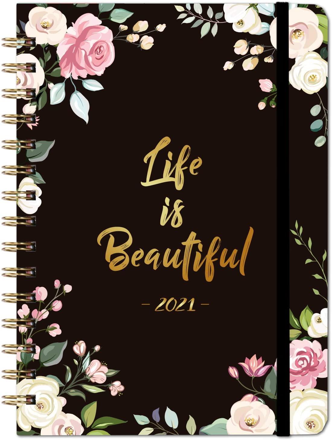 Agenda Semainier Horizontal 2021 Noir Fleurs Life Is Beautiful