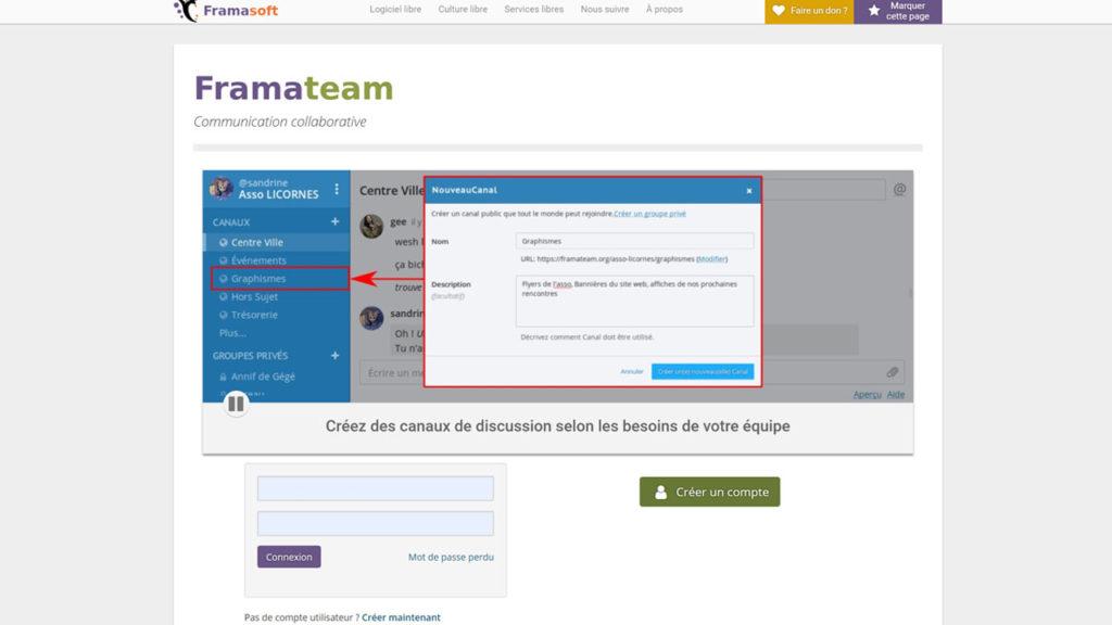 Framateam est un service de tchat libre qui permet de communiquer avec son équipe en notifiant ses collègues, de conserver ses conversations et d'y faire des recherches