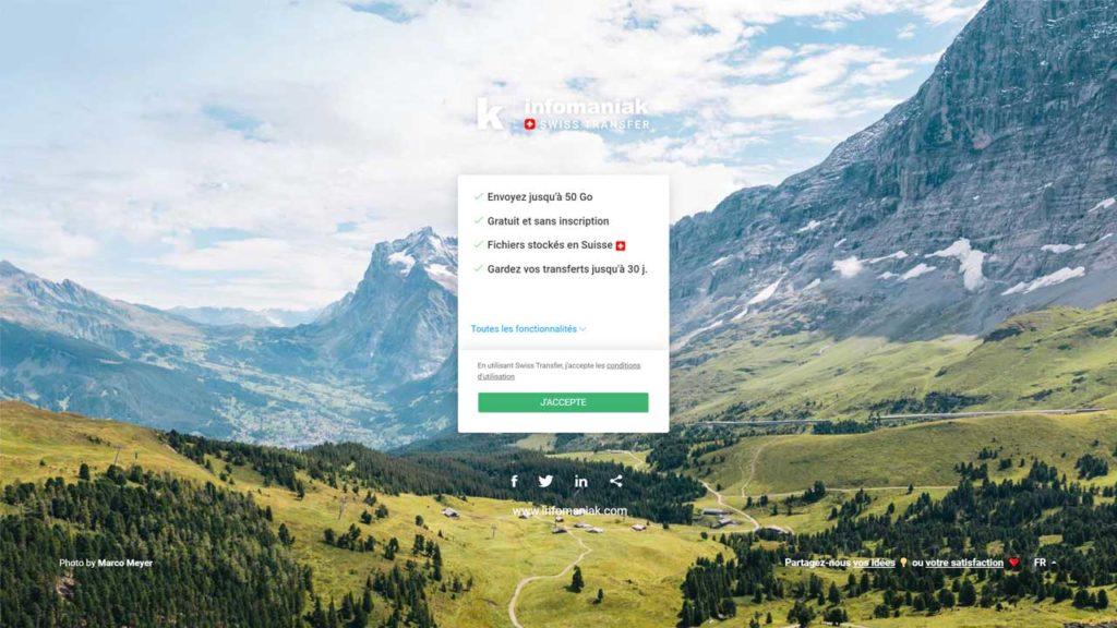 Swisstransfer - envoyer facilement de très gros fichiers à vos correspondants du monde entier, dans le plus strict respect de la vie privée et de confidentialité des données.